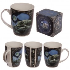 Bone China Mug-Fantasy Wolf Lake Design