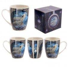 Bone China Mug-  Fantasy Howling Wolf Design
