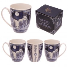 Bone China Mug-  Fantasy Winter Warrior Wolf Design