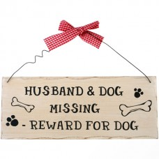 Husband and dog missing wall plaque